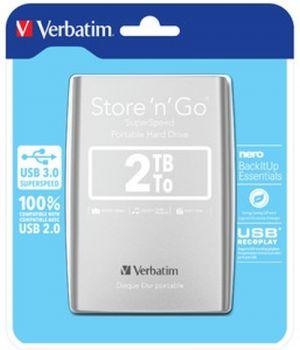 """Външен диск  Verbatim ext 2TB USB3.0 Silver 2,5"""""""